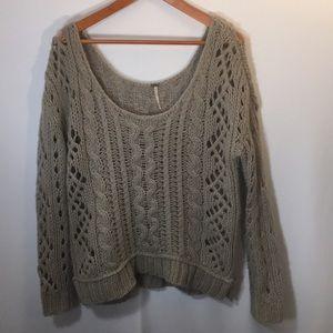Free People Open Knit Sweater Tan Size Medium